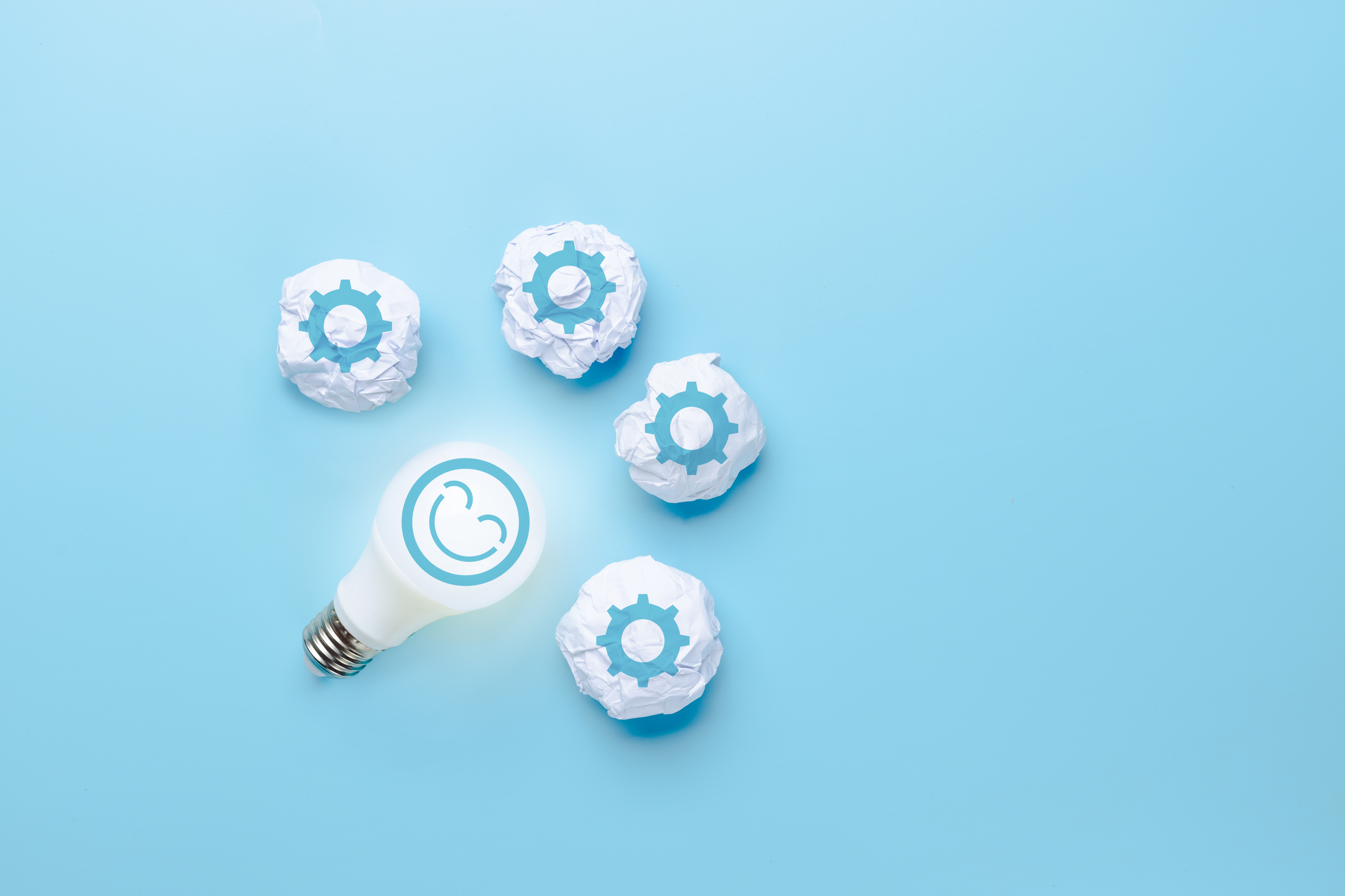 Idea and creative innovation with face smile icon and light bulb