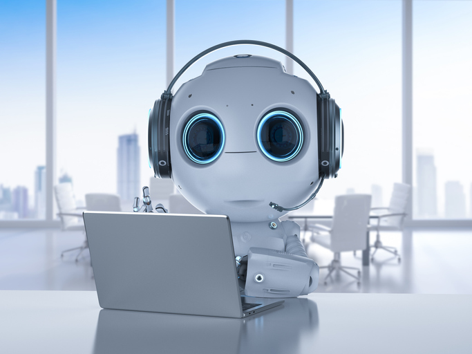 robot with headset and notebook